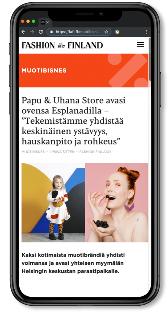 Features image - phone with responsive website design